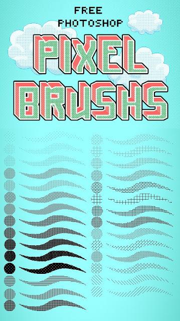 فرش التصميم انواعها واشكالها وابدااعااتها ... Photoshop Photoshop-Pixel-Brushes