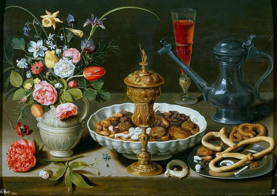 Still Life With Flowres, Goblet, Dried Fruit and Pretzels (1611), Clara Peeters