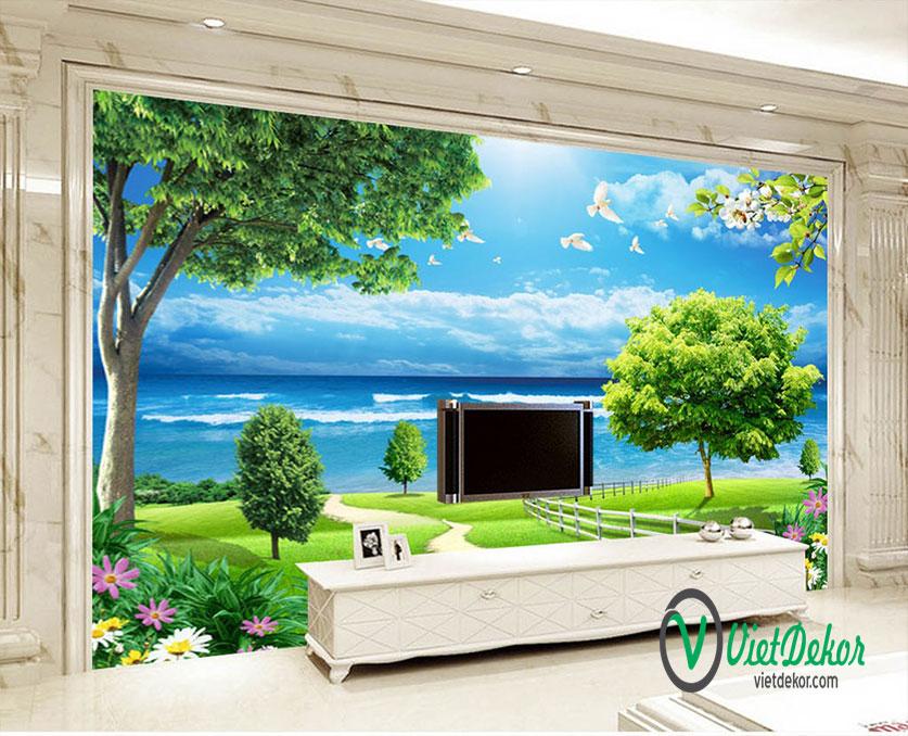 Tranh dán tường 3d phong cảnh con cò bay