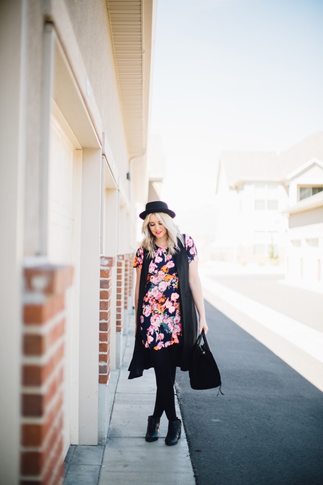 Spring Outfit, Modest Outfit, Floral and black