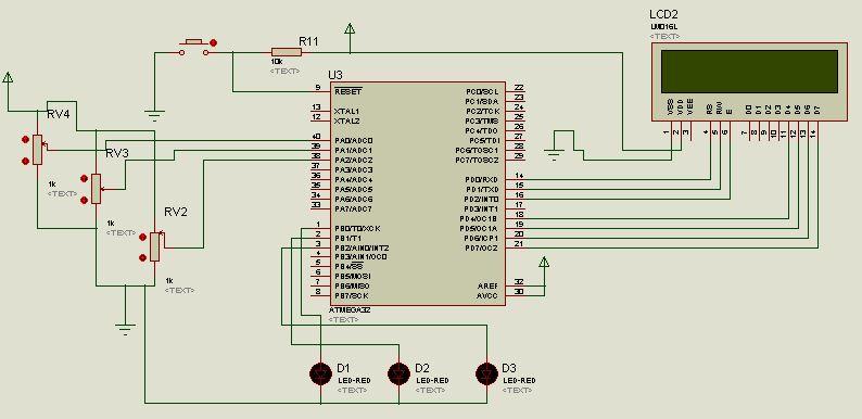 belajar adc  input output dengan cv avr dan proteus