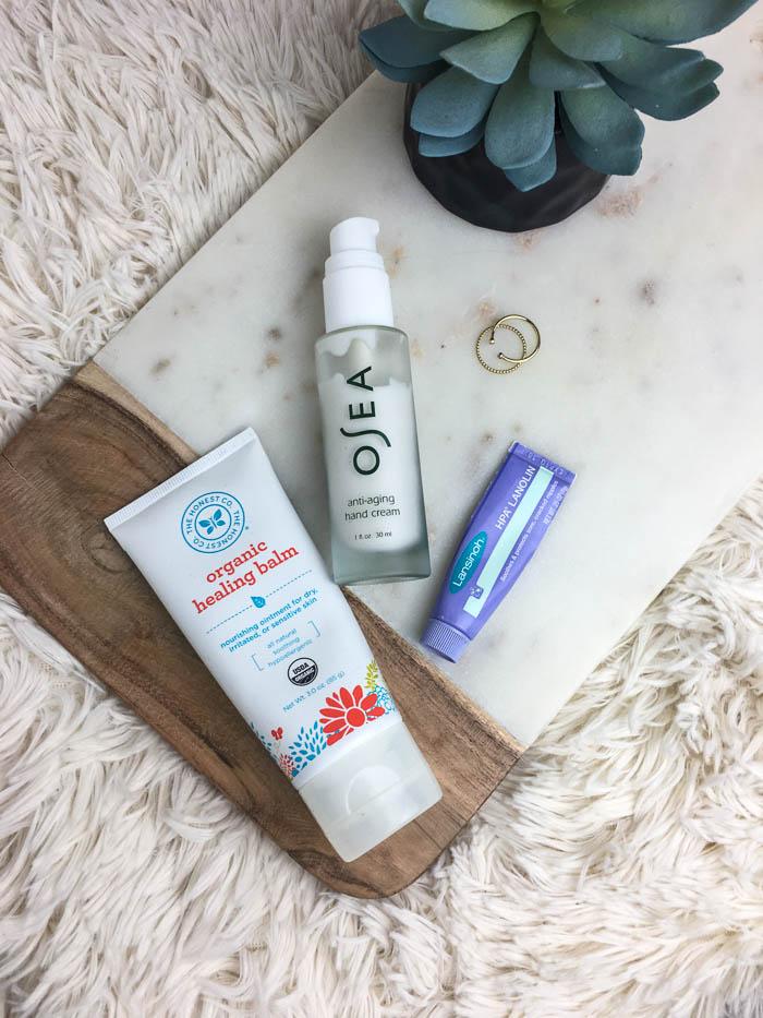 organic healing balm, osea hand cream, lansinol nipple cream for dry skin