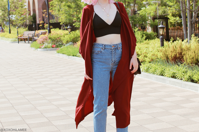 Japanese Fashion Blogger,MizuhoK,20180609OOTD,SheIn=burgundy outerwear,Crop cami top/CHOIES=black strap sandals/Light in the box=ring crossbody,?=sunglasses/Bershka=coin necklace