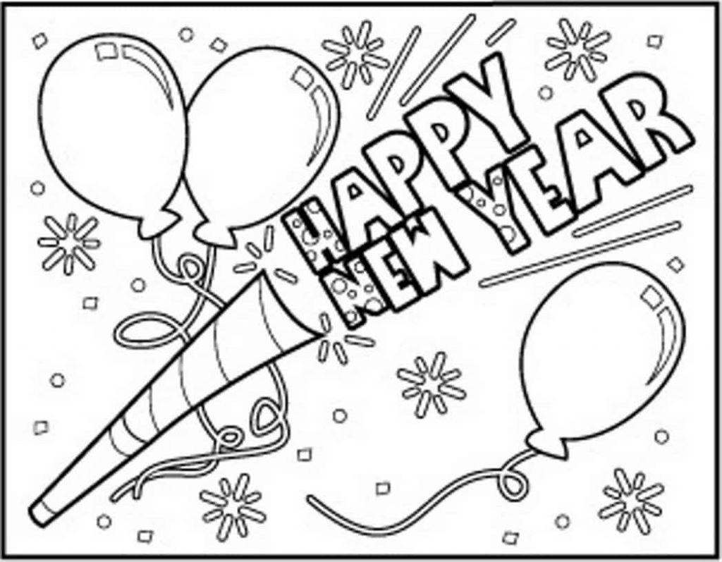Happy New Year 2018 Coloring Pages To Print
