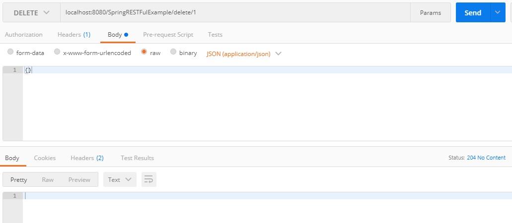 Delete User postman - Spring 4 Restful Web Services CRUD JSON Example