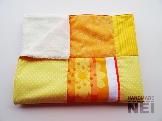 """Handmade Nel: Пачуърк одеяло с полар за бебе """"Жълто-оранжево"""""""