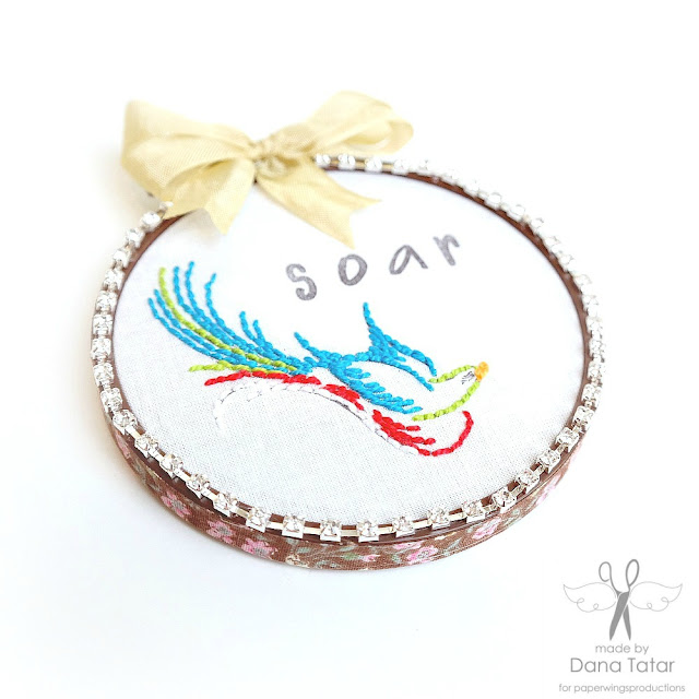 Soar Bird Stamped + Stitched Embroidery Hoop Art Side View by Dana Tatar