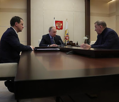 Vladimir Putin, Vladimir Medinsky, Vladimir Urin in Kremlin.