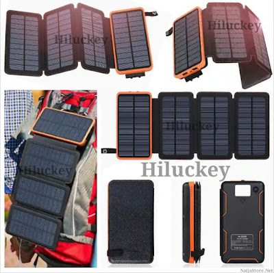 Hiluckey Solar Power Pack: 25000mAh 4-Panel Solar Mobile Charger with Flashlight