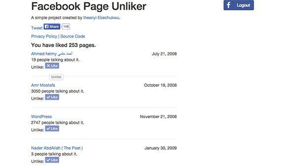 موقع لإلغاء الإعجاب Like لصفحات فيسبوك