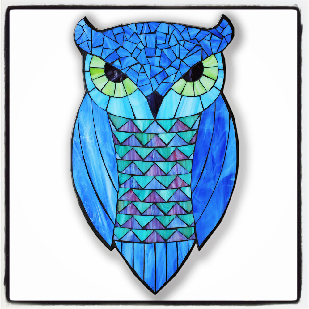 designs for mosaics templates - owls on the road
