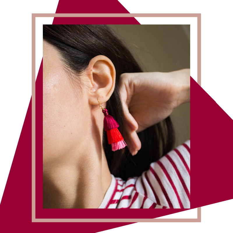 tassel earrings, pico the store, pico jewellery, colourful, pink and red earrings