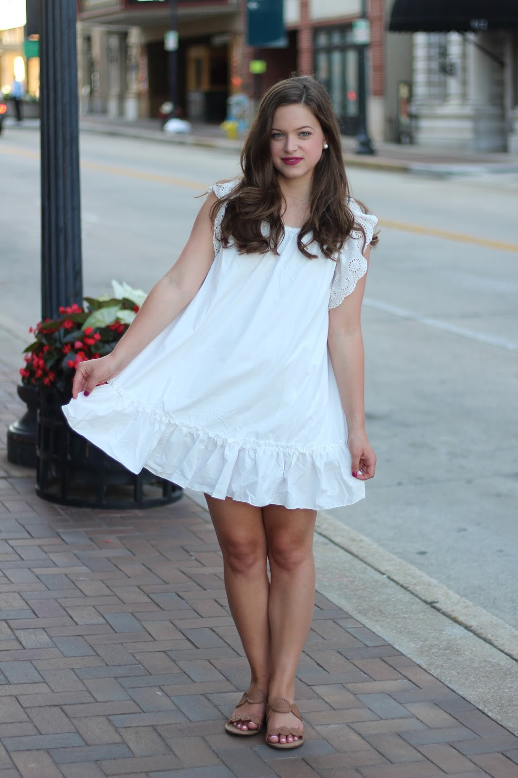 shein white babydoll dress jack rogers lauren sandals