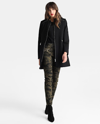 Abrigos de moda negro de mujer