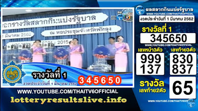 Thailand Lottery Results Today 01 March 2019 Live Online