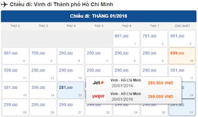 Vé máy bay giá rẻ đi Vinh tháng 1