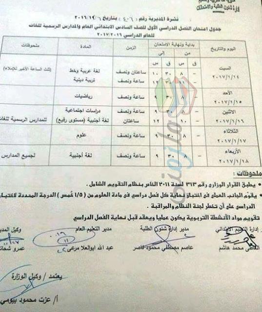 جدول امتحانات الصف السادس الابتدائي 2017 الترم الأول محافظة قنا