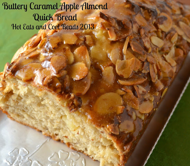 Buttery Caramel Apple Almond Quick Bread Recipe from Hot Eats and Cool Reads! We love this delicious, fall quick bread for breakfast, snack or dessert! Perfect for the lunch box or picnic basket!