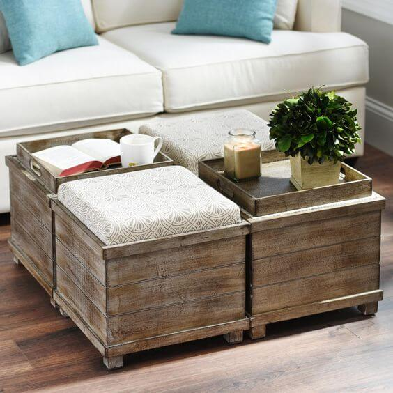 coffee table with pull out ottomans | arlene designs