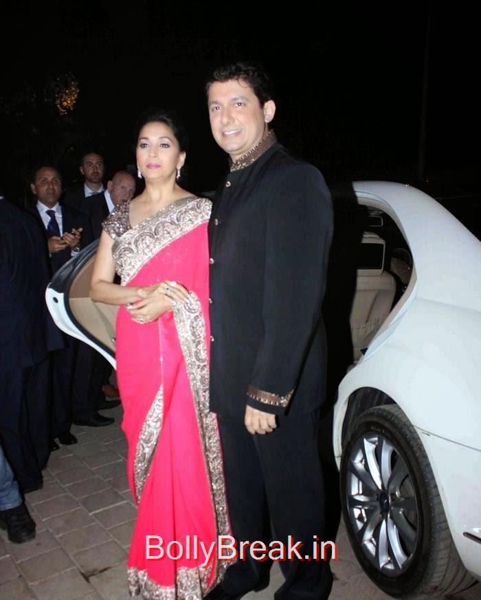 , Madhuri Dixit in Pink Saree at Sanjay Hinduja's pre Wedding Bash