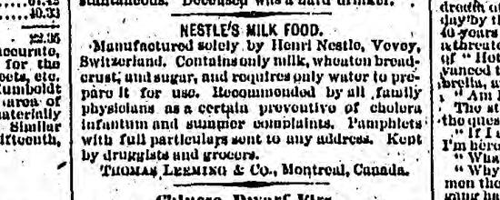Nestlé advertisement 1880
