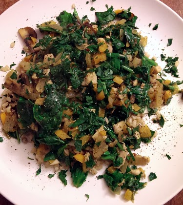 brown rice with spinach and mushroom