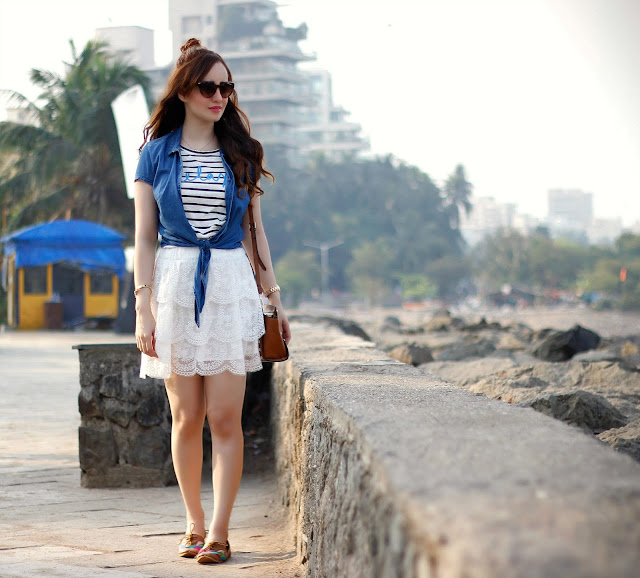 ONLY Nautical Stripe T-Shirt, Chambray tie-up shirt, white lace skirt, Spring Summer 2016, West Coast Beach Look