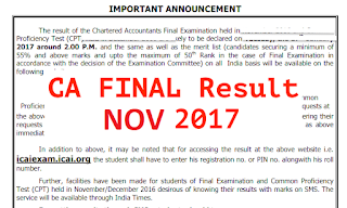 CA Final Result Exam Caresults on icai.nic.in