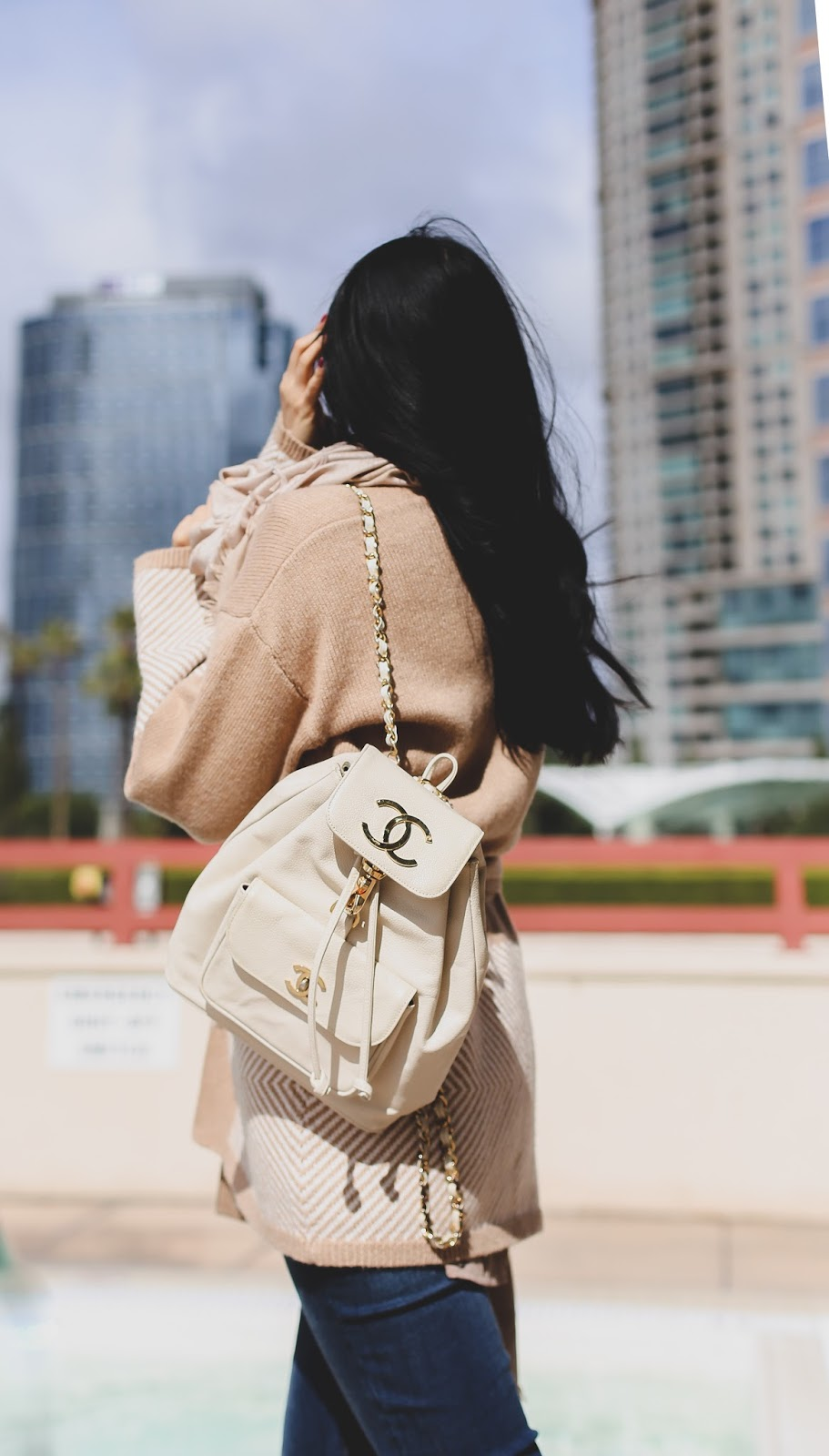 Chanel backpack outfit