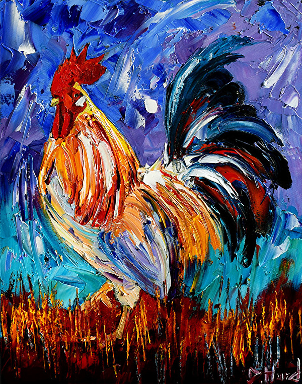 Daily Painters Abstract Gallery Rooster Art Chicken Paintings Farm