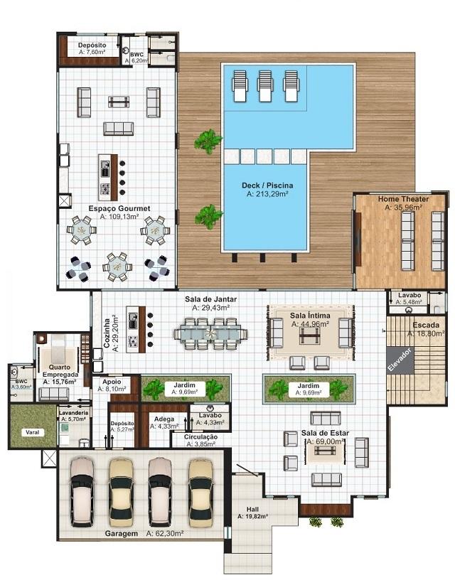 Plano de casa de 960 m2 planos de casas gratis y for Plano alberca