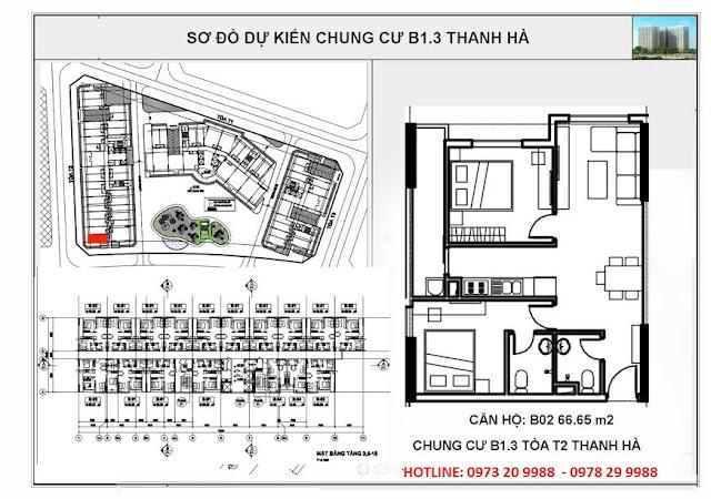 Sơ đồ căn hộ số B02 chung cư T2 Thanh Hà