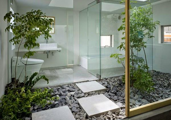 Ba os con jard n colores en casa for Banos modernos con piedras