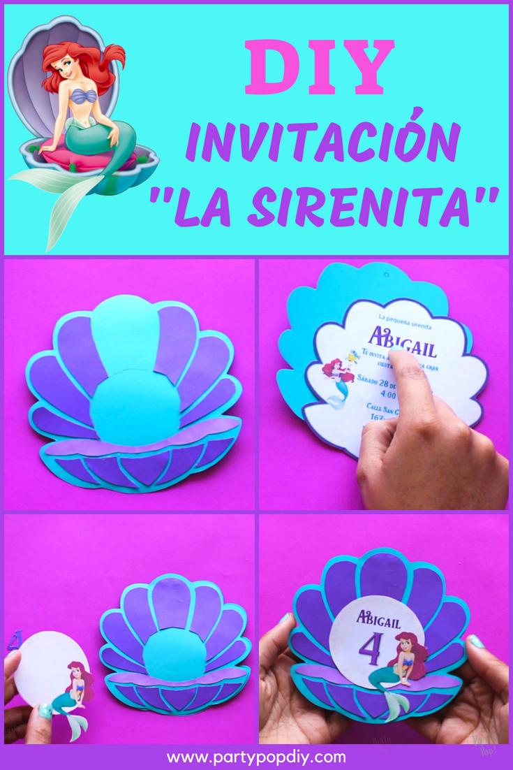 Extraordinario Invitaciones De La Sirenita Ariel Para