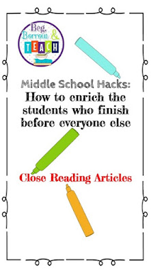 Enriching early finishers in middle school with Close Reading articles