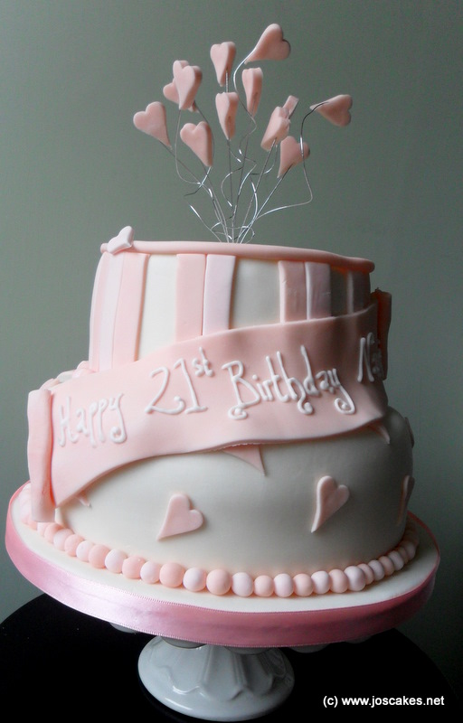 Two Tier Pink 21st Birthday Cake