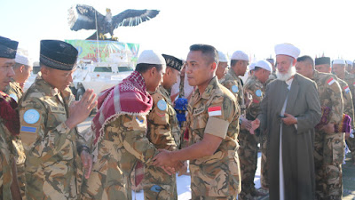 Pasukan Perdamaian Indobatt Rayakan Idul Fitri 1439 di Lebanon Selatan.