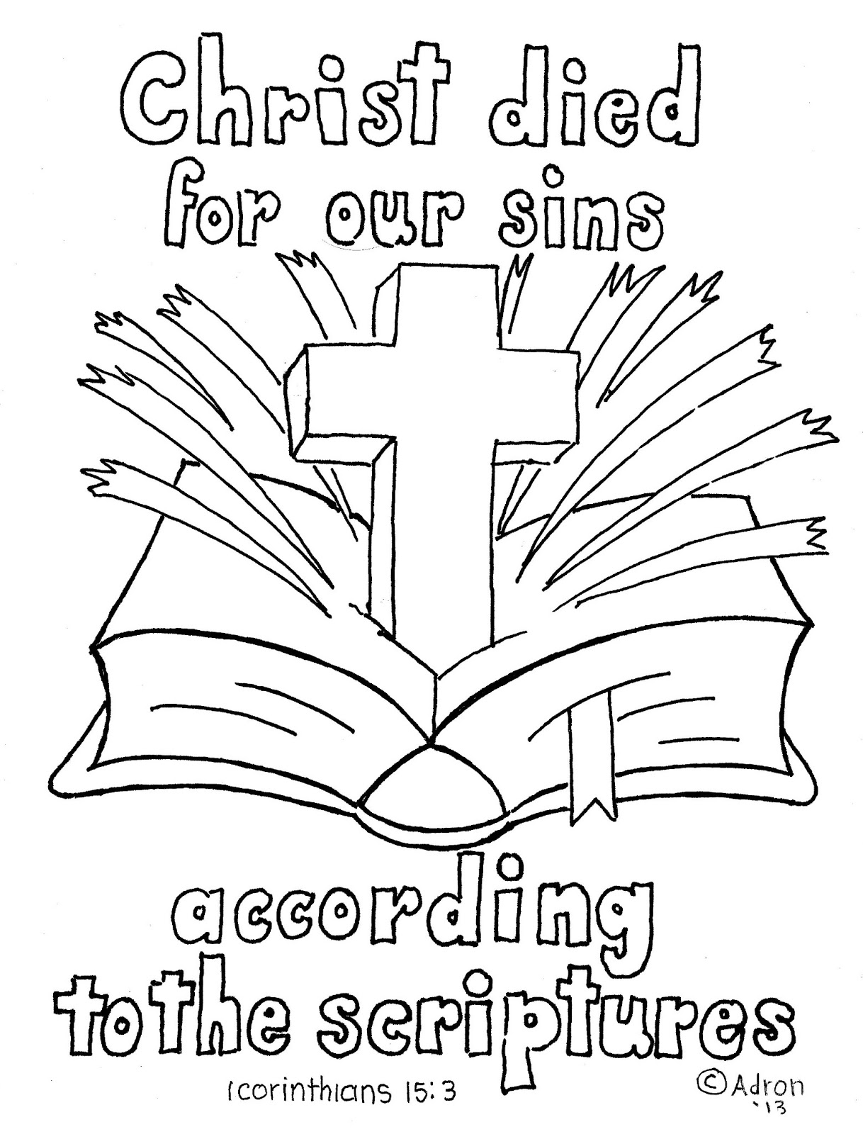 Coloring Pages For Kids By Mr Adron 1 Corinthians 15 3 Print And Color Page