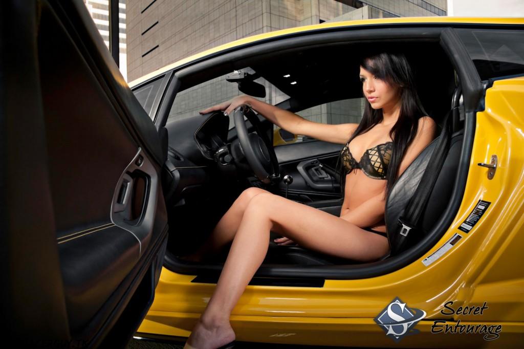 Cars And Girls Yellow Tuned Lamborghini Gallardo And Ellis Sport Cars