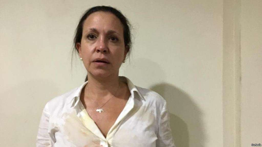 Grupos oficialistas lanzaron piedras y objetos contundentes contra la opositora en el Estado Bolívar / RRSS
