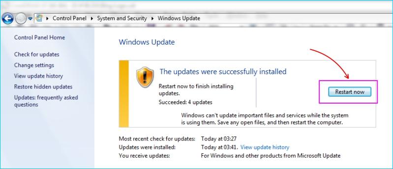 Update Windows 7 - Restart Komputer Setelah Update