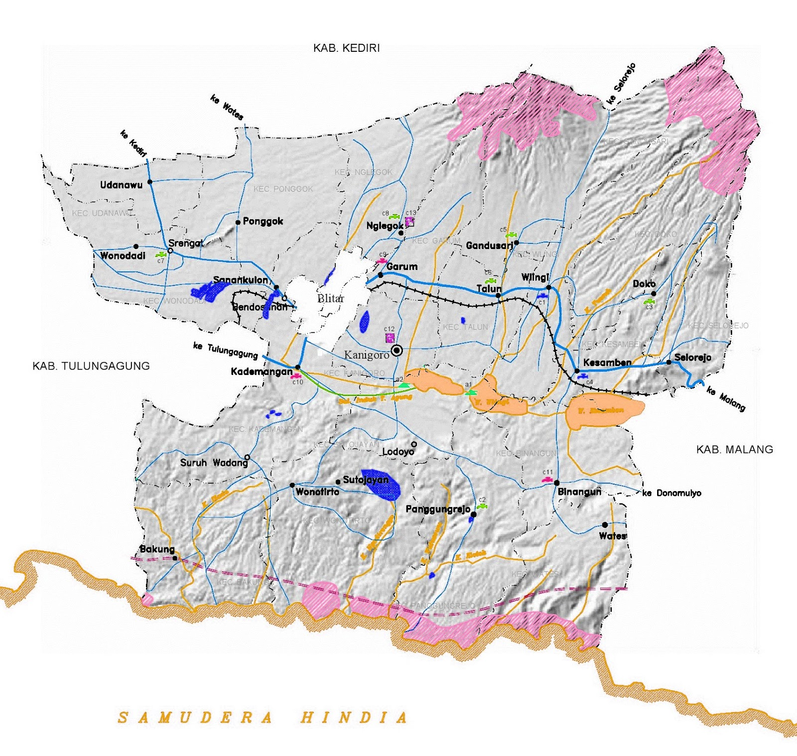 Gambar Peta infrastruktur Blitar
