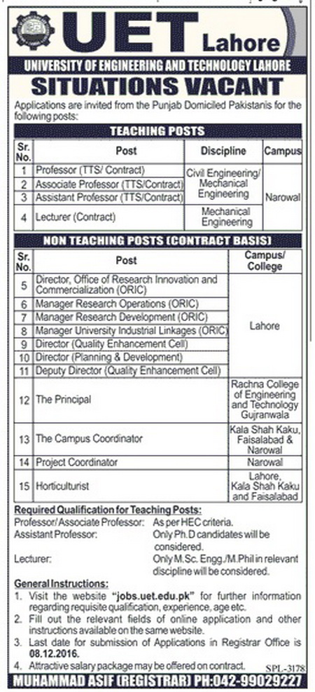Jobs in UET Lahore 2016