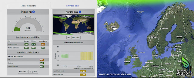 Space Weather Live (izq) y Aurora Service Europa (dcha) por El Guisante Verde Project