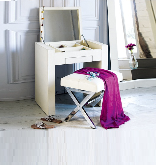 modern small white dressing table with folding mirror, makeup dressing table