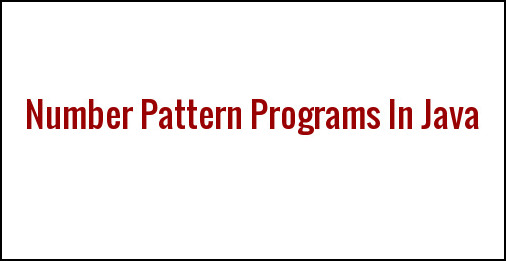 Number Pattern Programs