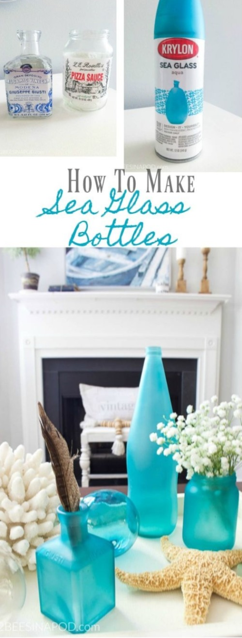 Aqua Blue Seaglass Spray Paint for Decorative Bottle DIY Project