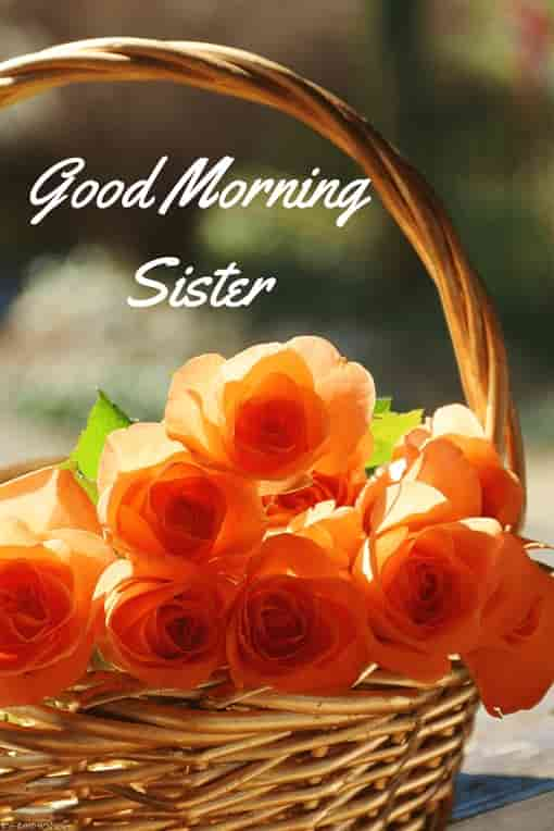 good morning sister with flowers