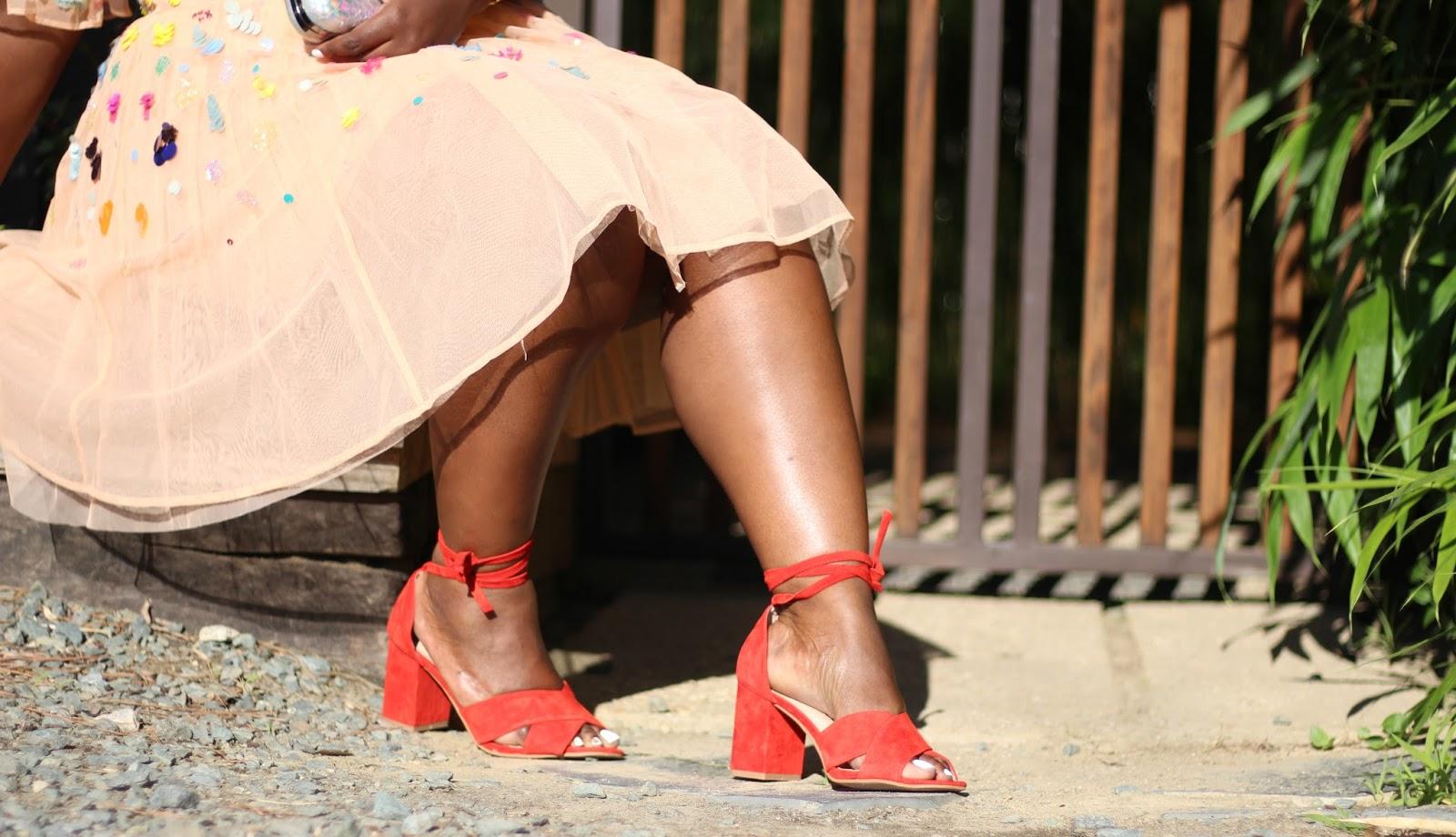 Suede Wrap Block Heels (Wide Width)