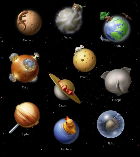 Divertidos iconos del sistema solar   Recursos Photoshop